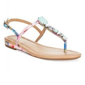 Blanchette T Strap Jeweled Flat Sandals
